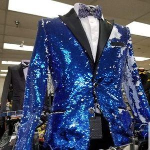 Men slim fit sequence suit coat
